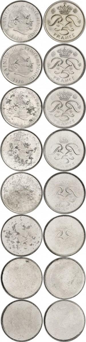 MONACO Rainier III (1949-2005). Série complète provenant de l'atelier du graveur R. Joly de la deuxième épreuve non adoptée de la 5 francs 1970 en nickel. 8 essais à différents niveaux de pression.