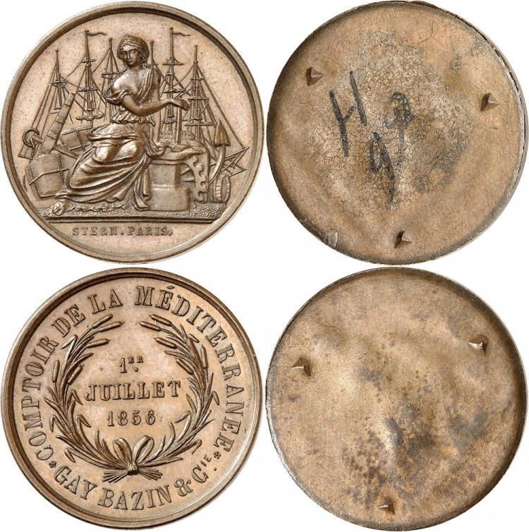 ÉGYPTE Paire d'épreuves unifaces de l'avers et du revers en cuivre du jeton, datée 1856, par Stern, poinçon abeille «COMPTOIR DE LA MEDITERRANÉE GAY BAZIN & CIE».