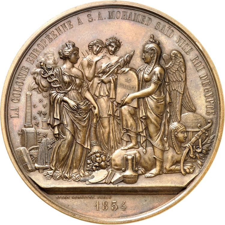 ÉGYPTE Mohamed Saïd (1854-1863). Médaille en cuivre frappée en 1854, frappée en hommage de la colonie européenne à Son Altesse Mohammed Saïd, poinçon abeille (à partir de 1860), par Stern.