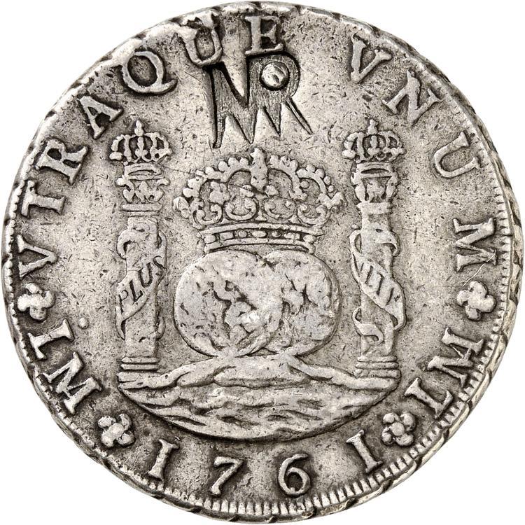 MOZAMBIQUE Colonie portugaise. Contremarque MR sur une monnaie de 8 reales 1761, Lima.