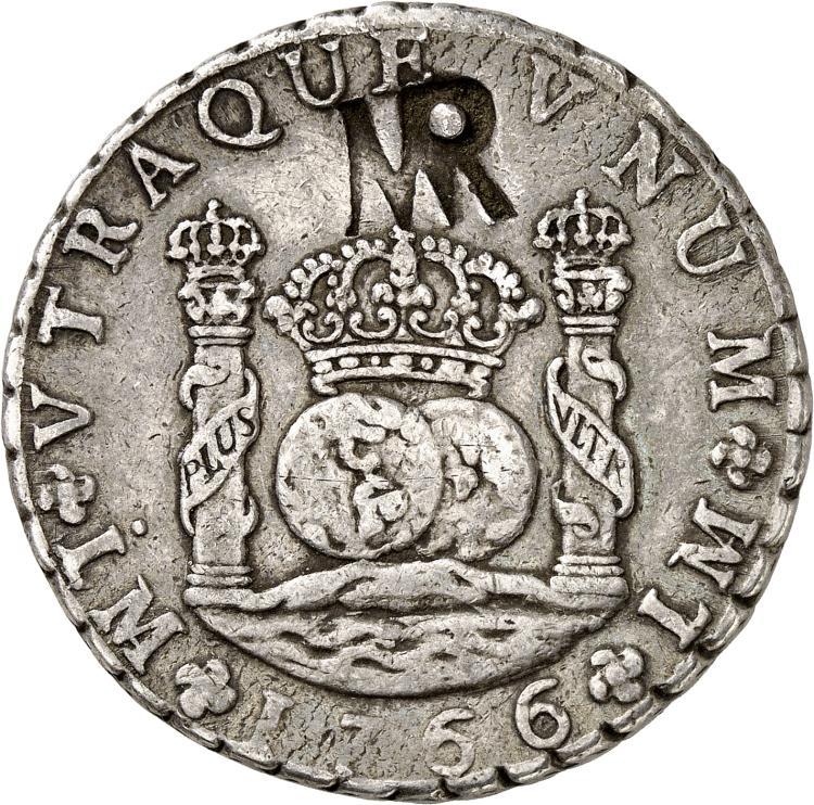 MOZAMBIQUE Colonie portugaise. Contremarque MR sur une monnaie de 8 reales 1766, Lima.