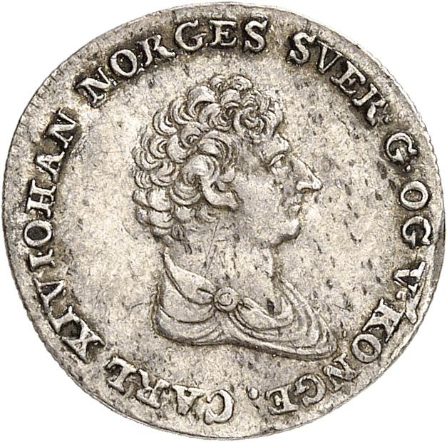 NORVÈGE Charles XIV Bernadotte (1818-1844). 8 skilling 1827, 7 sur 5.