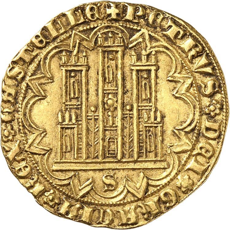 ESPAGNE Pierre Ier (1350-1369). Dobla de 35 maravedis, Séville.