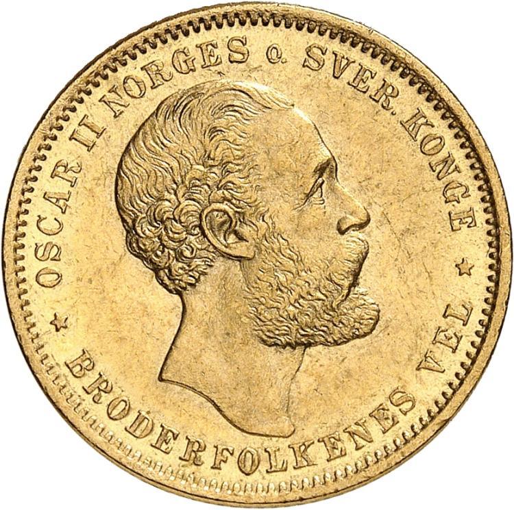 NORVÈGE Oscar II (1872-1902). 20 couronnes 1886.