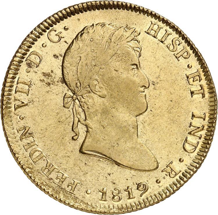 PÉROU Ferdinand VII (1808-1824). 8 escudos 1819, Lima.