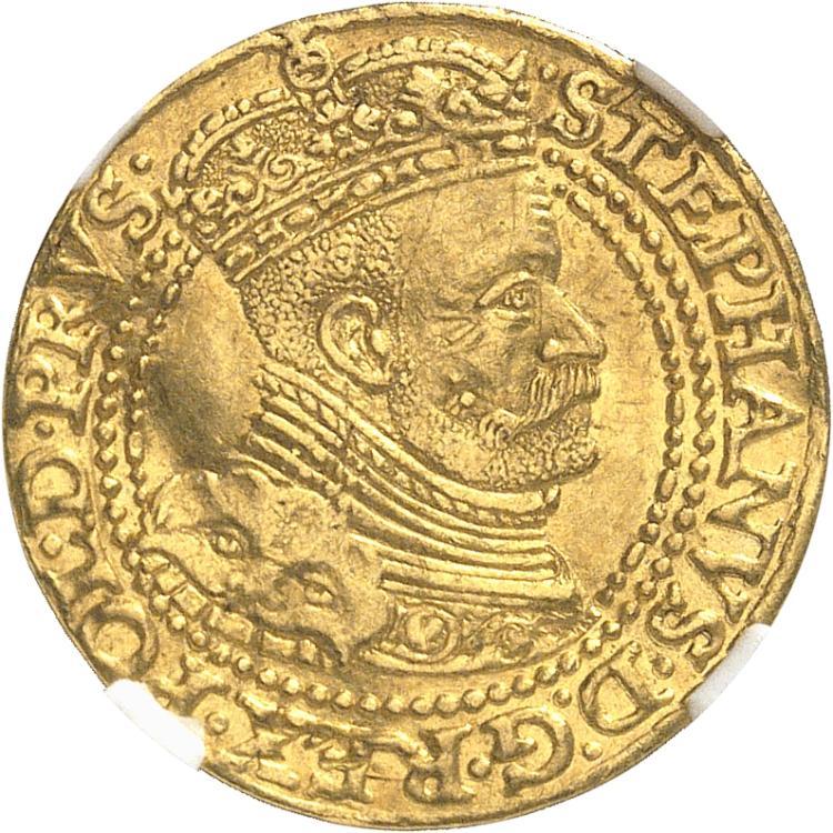 POLOGNE Étienne Bathory (1576-1586). Ducat 1586, Danzig.