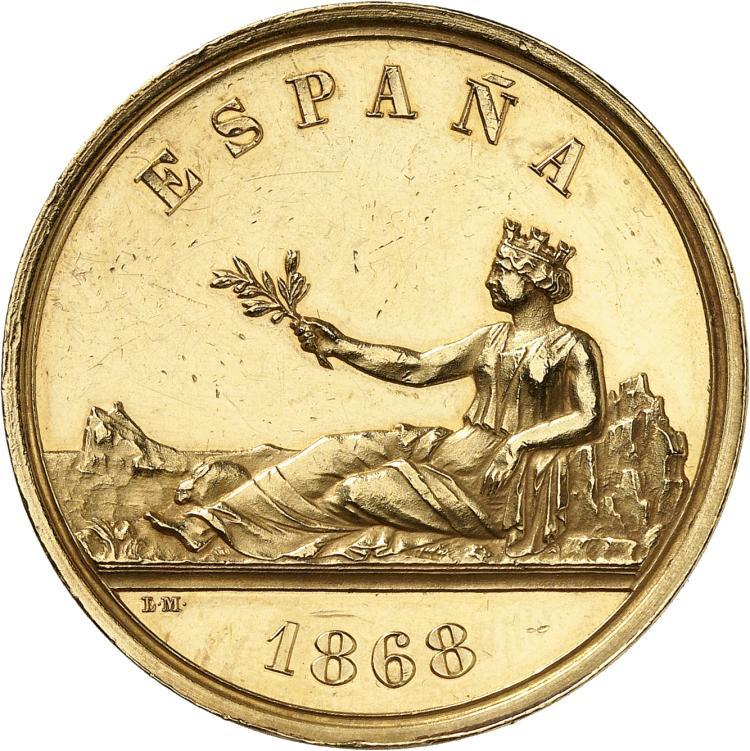 ESPAGNE Gouvernement provisoire (1868-1871). Médaille en or 1868.