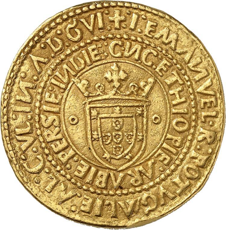 PORTUGAL Manuel Ier (1495-1521). Português de 10 cruzados, Lisbonne.