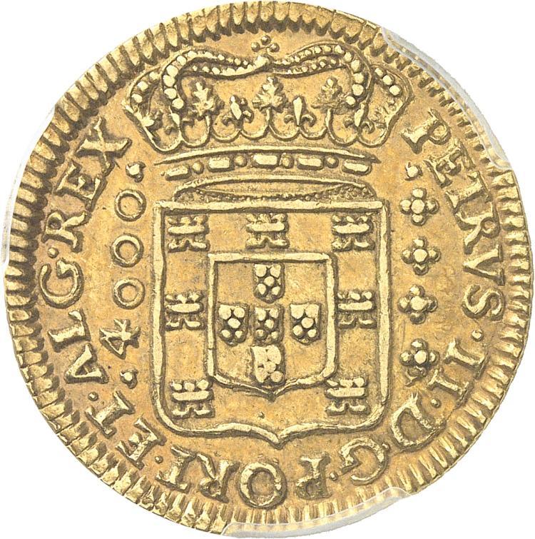 PORTUGAL Pierre II (1683-1706). 4000 reis 1702, Lisbonne.