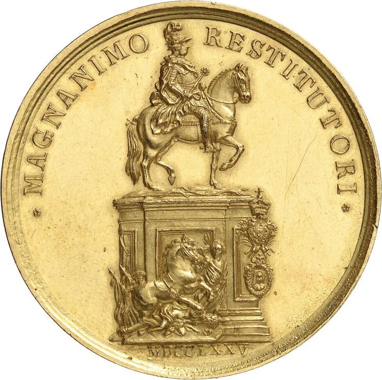 PORTUGAL Joseph Ier (1750-1777). Médaille en or 1775, par José Gaspar, célébrant l'érection de la statue équestre du roi JosephIer, réalisée par le sculpteur Joaquim Machado de Castro, en remerciement de la rénovation de la ville de Lisbonne après le tremblement de terre de 1755.