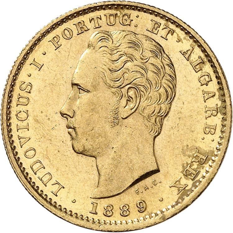 PORTUGAL Louis Ier (1861-1899). 5000 reis 1889, Lisbonne.
