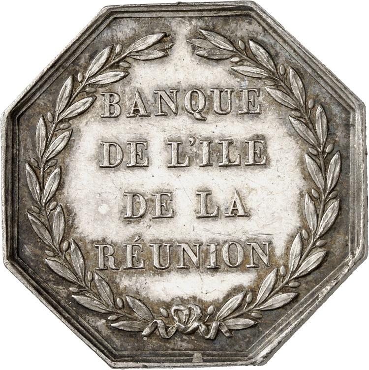RÉUNION (ÎLE DE LA) La Réunion, Napoléon III (1852-1870). Jeton en argent non daté, poinçon abeille (1860-1879), « Banque de l'île de La Réunion », par Desaide.