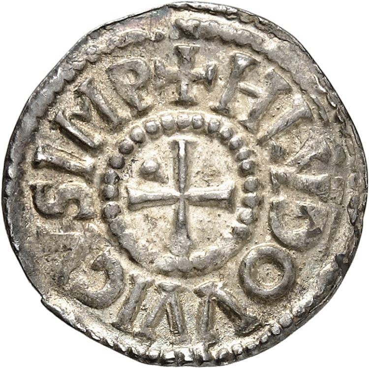 FRANCE Carolingiens. Louis le Pieux (814-840). Denier, Dorestadt.