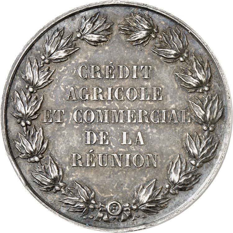 RÉUNION (ÎLE DE LA) La Réunion, Napoléon III (1852-1870). Jeton en argent non daté, poinçon abeille (1860-1879), « Crédit agricole et commercial de La Réunion ».