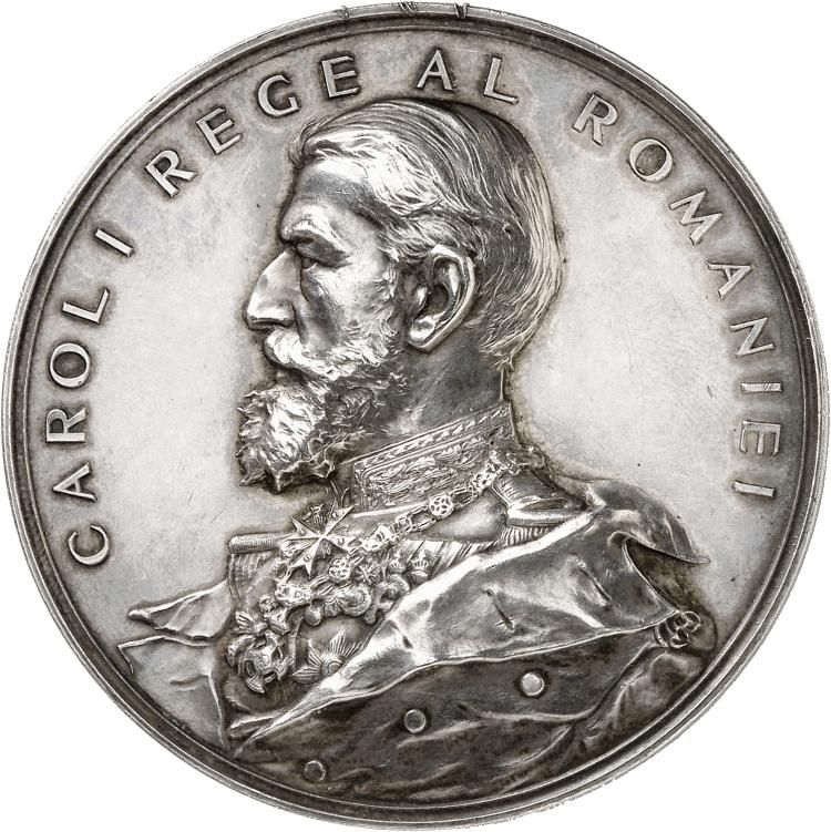 ROUMANIE Carol Ier (1866-1914). Médaille en argent célébrant l'inauguration du Palais de la Cour des Comptes, 1899.