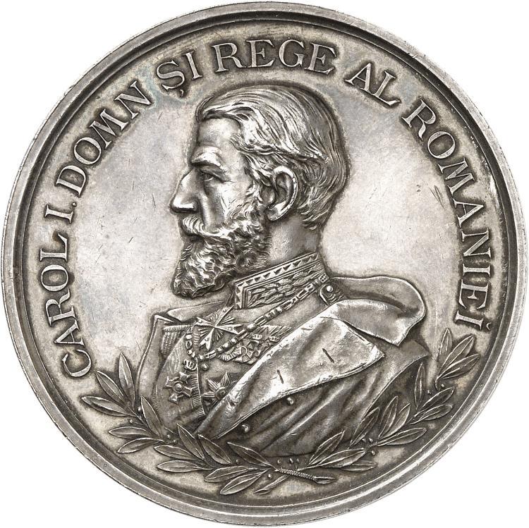 ROUMANIE Carol Ier (1866-1914). Médaille en argent célébrant les 25 ans de la société roumaine de géographie, 1900.