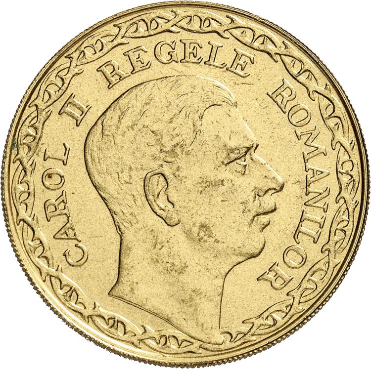 ROUMANIE Carol II (1930-1940). 100 lei 1940, Bucarest, essai en bronze doré.