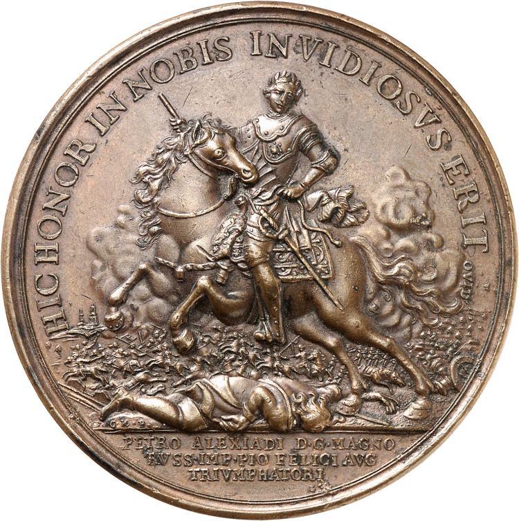 RUSSIE Pierre Ier (1682-1725). Médaille en bronze, frappé par Judin, commémorant la victoire russe sur la Suède lors de la bataille de Poltova en 1709.