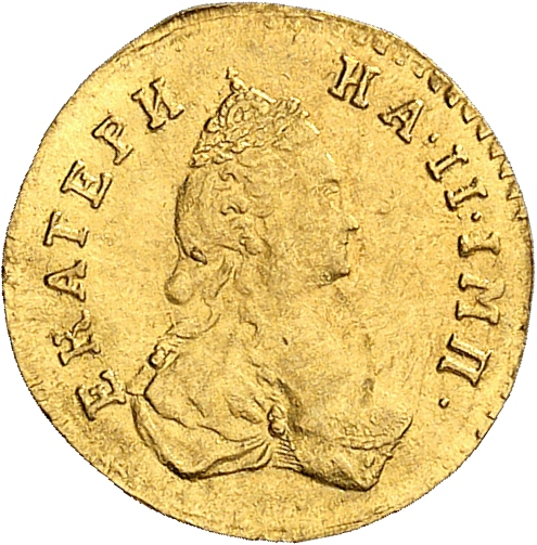 RUSSIE Catherine II (1762-1796). Poltina ou ½ rouble en or 1778, Saint-Petersbourg.