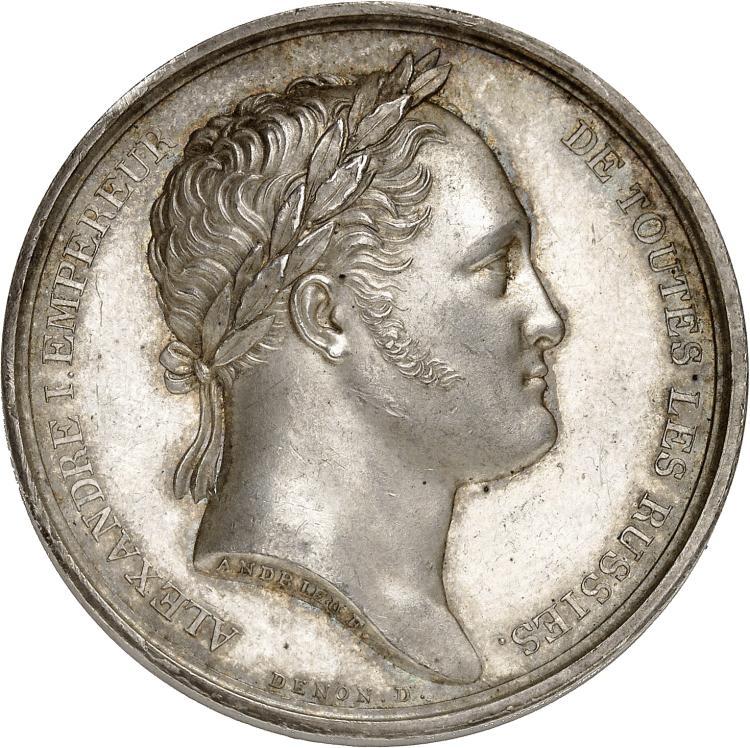 RUSSIE Alexandre Ier (1801-1825). Médaille en argent 1814 par Denon, commémorant le séjour d'Alexandre Ier à Paris.