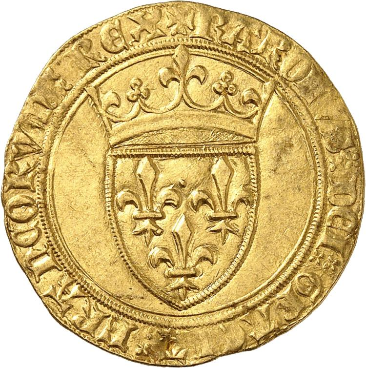 FRANCE Charles VI (1380-1422). Écu d'or à la couronne première émission sans point secret.