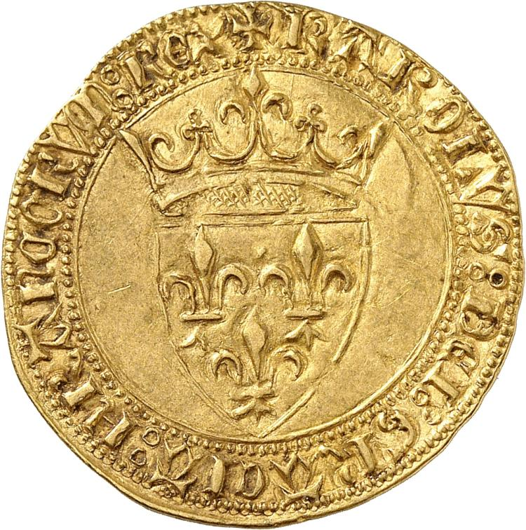 FRANCE Charles VI (1380-1422). Écu d'or à la couronne deuxième émission, sans point secret.