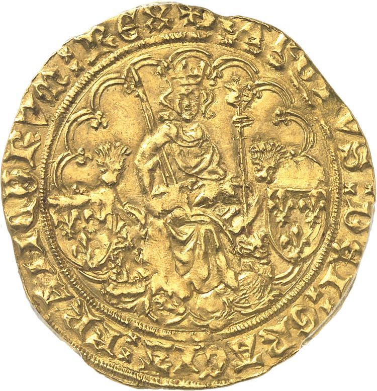 FRANCE Charles VI (1380-1422). Emission du dauphin Charles VII Double d'or 1420, La Rochelle.