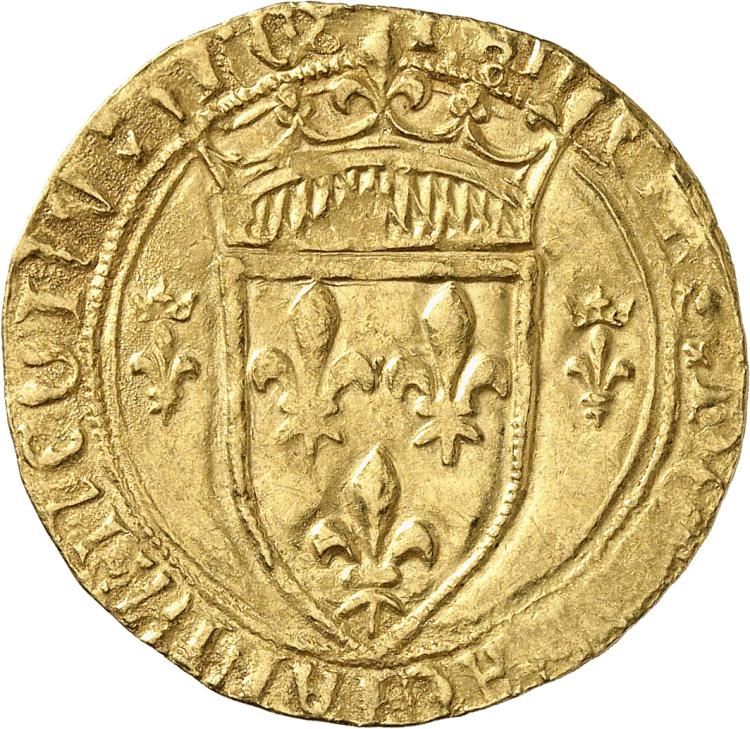 FRANCE Charles VII (1422-1461). Écu d'or dit « écu neuf », première émission, point 2°, Romans.