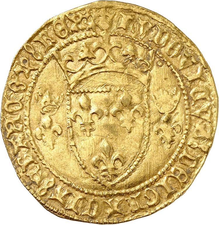 FRANCE Louis XI (1461-1483). Écu d'or à la couronne, première émission, point 4° Montpellier.