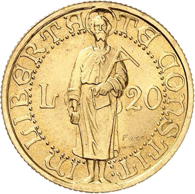 SAINT-MARIN République. 20 lire 1925, essai « Prova », Rome.
