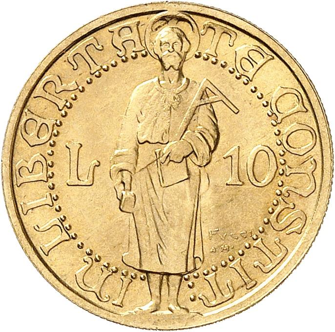 SAINT-MARIN République. 10 lire 1925, essai, « Prova », Rome.