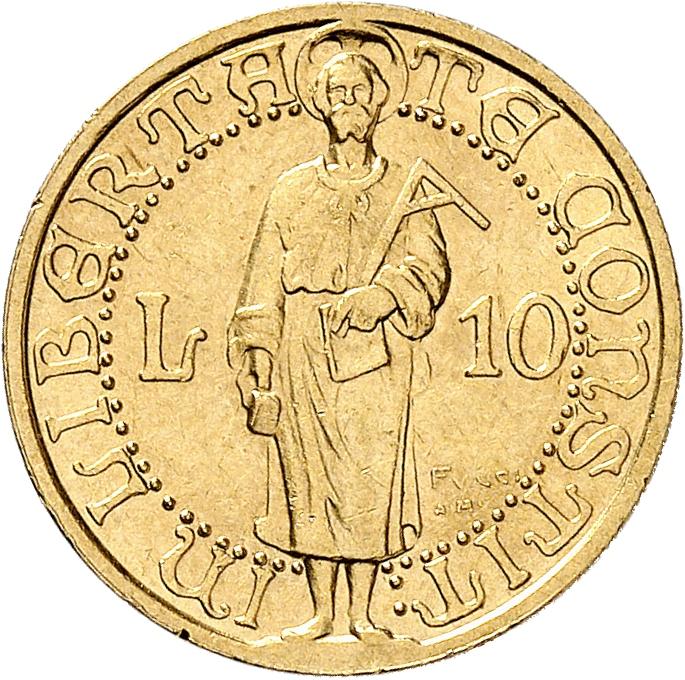 SAINT-MARIN République. 10 lire 1925, essai, « Prova di stampa », Rome.