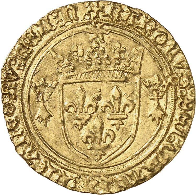 FRANCE Charles VIII (1483-1498). Écu d'or au soleil de Bretagne, Nantes (n final).