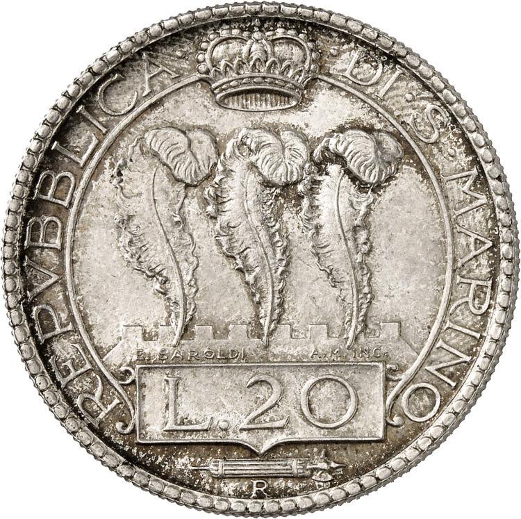 SAINT-MARIN République. 20 Lire 1938, Rome.