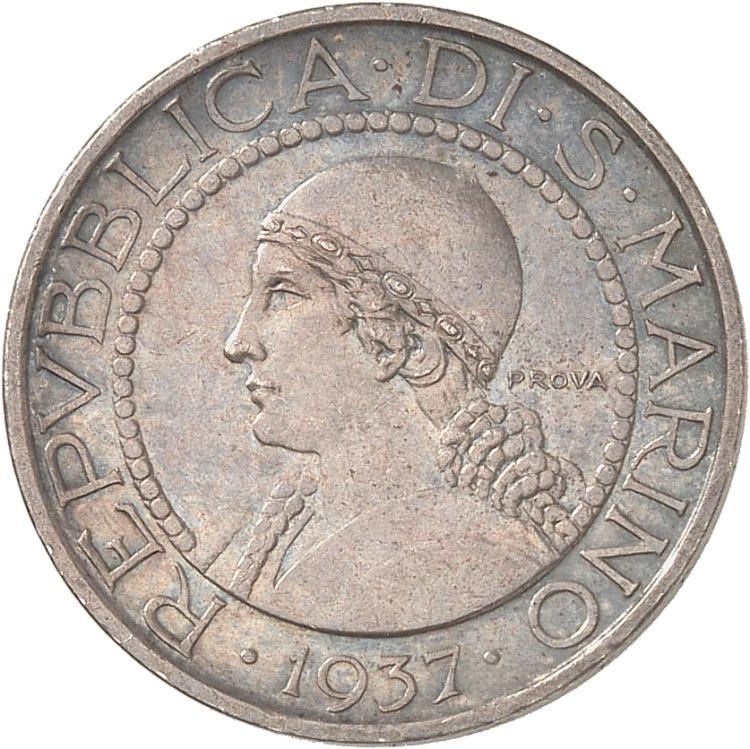SAINT-MARIN République. 5 Lire 1937, essai, « Prova », Rome.