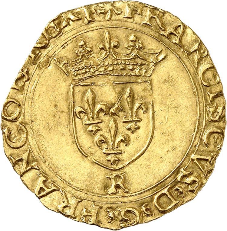 FRANCE François Ier (1515-1547). Écu d'or à la croisette, Saint-André Villeneuve les Avignon.