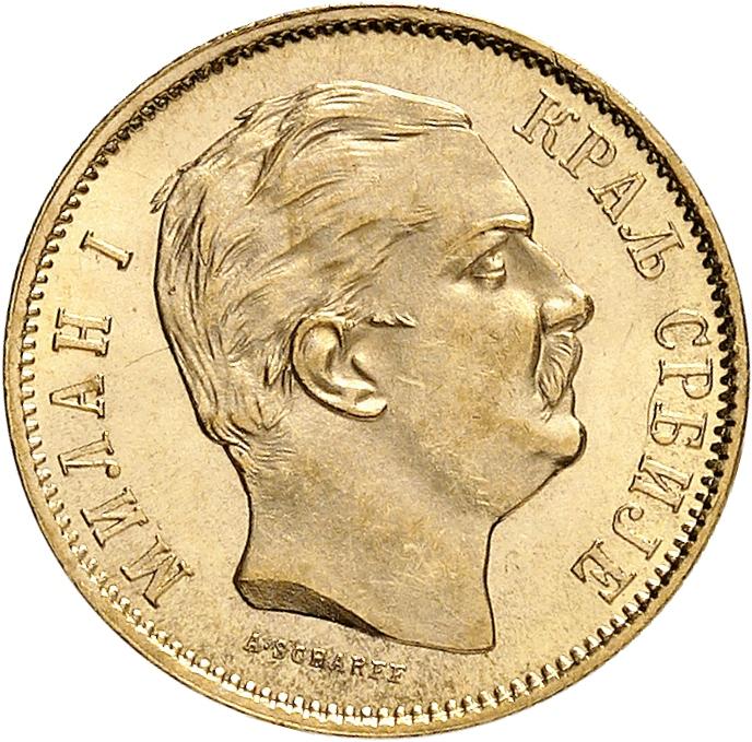 SERBIE Milan Ier (1882-1889). 10 dinara 1882, Vienne.