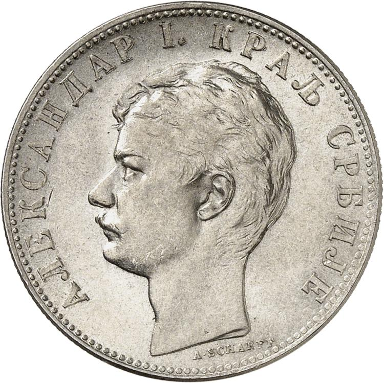 SERBIE Alexandre Ier (1889-1903). 2 dinara 1897, Vienne.