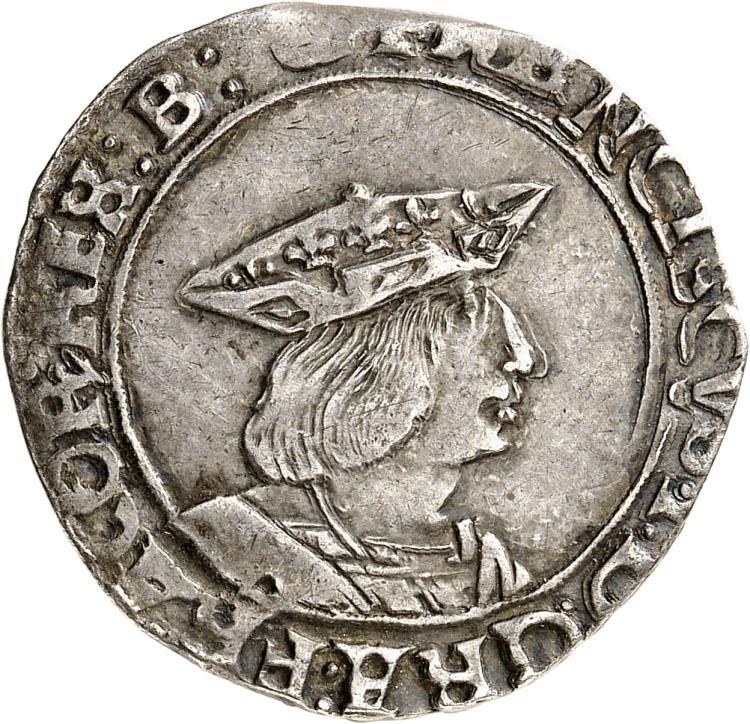 FRANCE François Ier (1515-1547). Teston, 3éme type, Bourges (B en fin de légende).