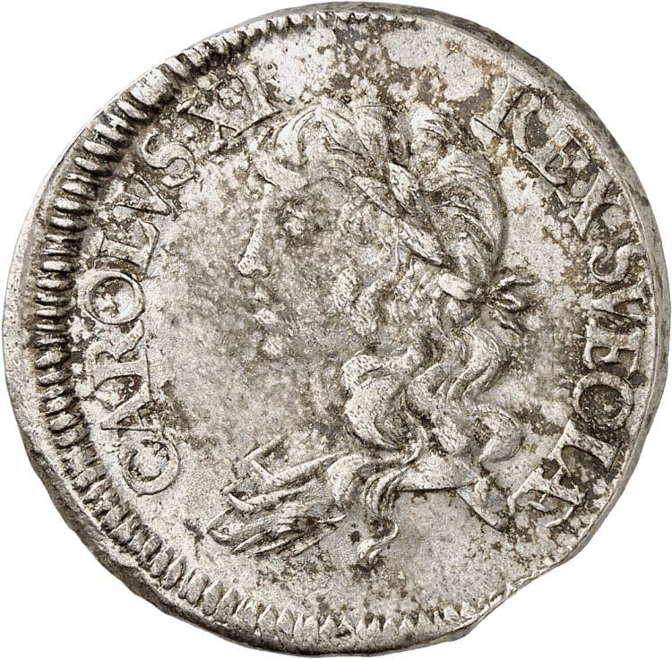 SUÈDE Charles XI (1660-1697). 2 mark 1670, Stockholm.