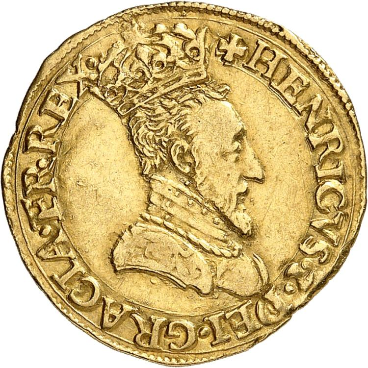 FRANCE Henri II (1547-1559). Écu d'or à l'effigie, 1549 Bayonne.