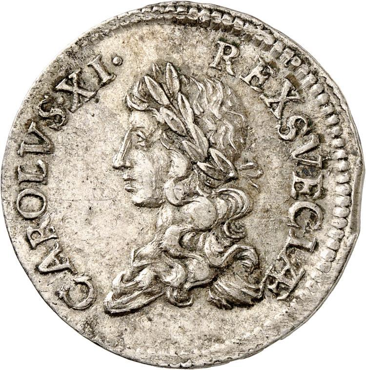 SUÈDE Charles XI (1660-1697). 2 mark 1671, Stockholm.