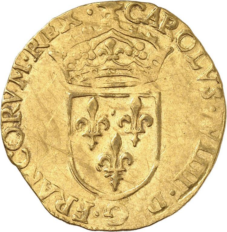 FRANCE Charles IX (1560-1574). Écu d'or au soleil 1573, Rouen.