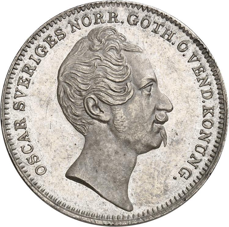 SUÈDE Oscar Ier (1844-1859). ½ riksdaler 1845, Stockholm.
