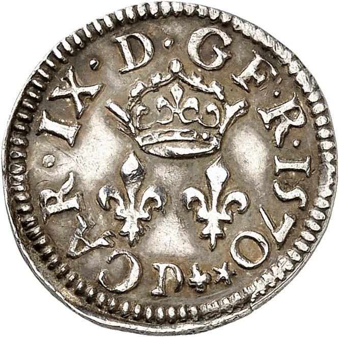FRANCE Charles IX (1560-1574). Denier tournois 1570, Lyon, essai en argent.