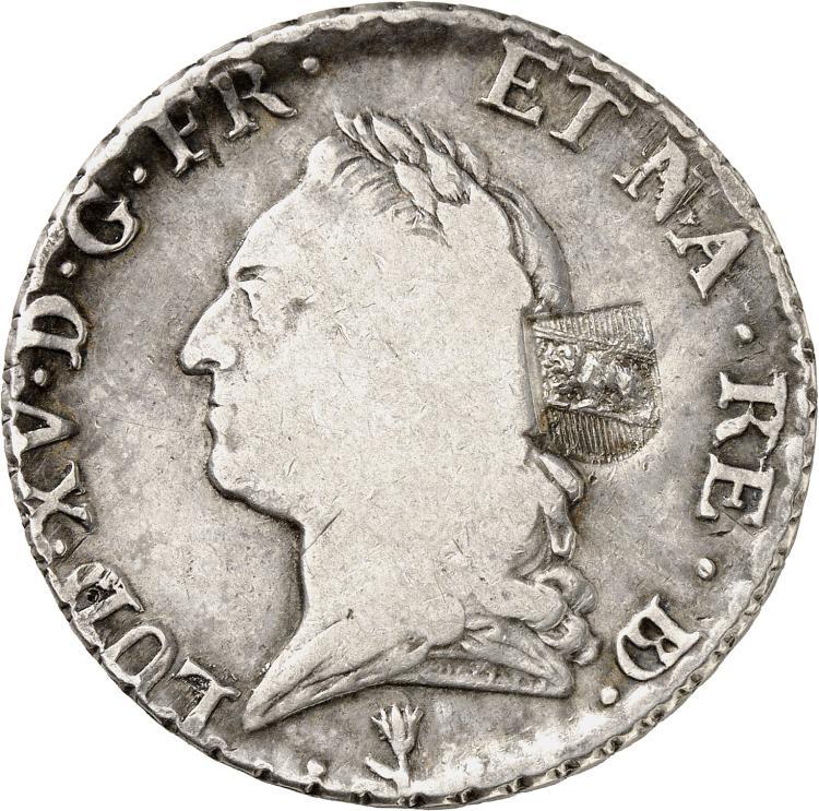 SUISSE Ville de Berne (1816-1819). Contremarque de 40 batzen sur un écu à la vieille tête 1771 Pau.