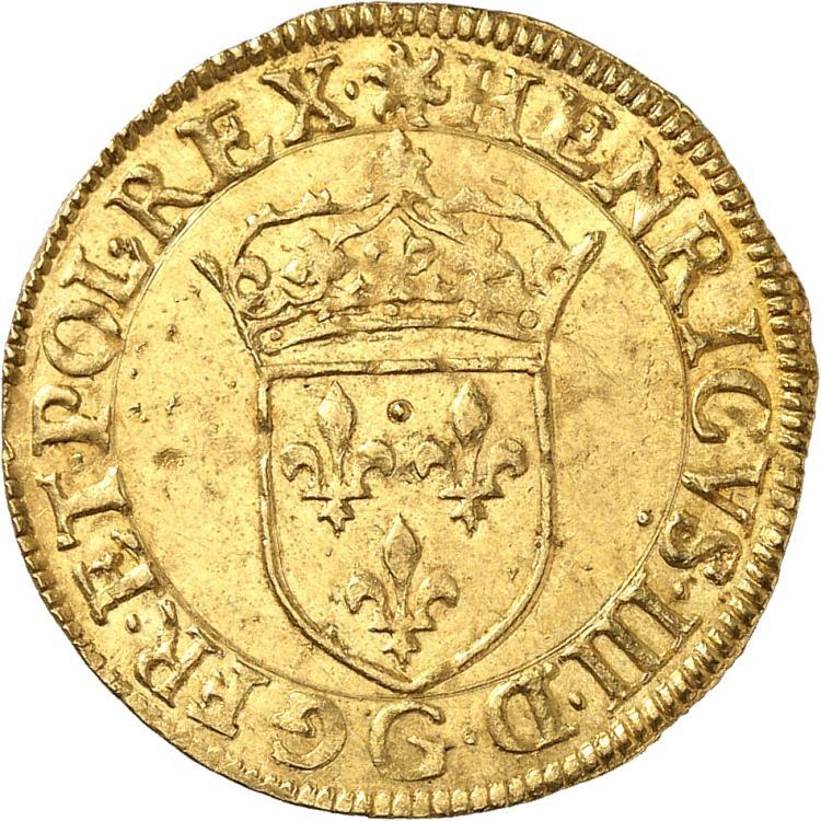 FRANCE Henri III (1574-1589). Écu d'or au soleil 1576, Poitiers.