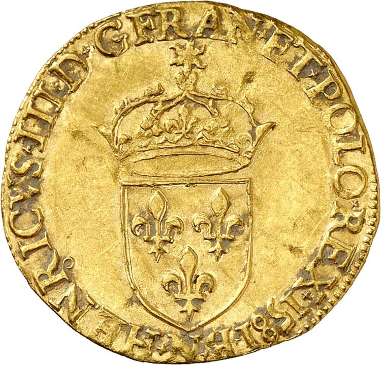 FRANCE Henri III (1574-1589). Écu d'or au soleil 1581, Montpellier.
