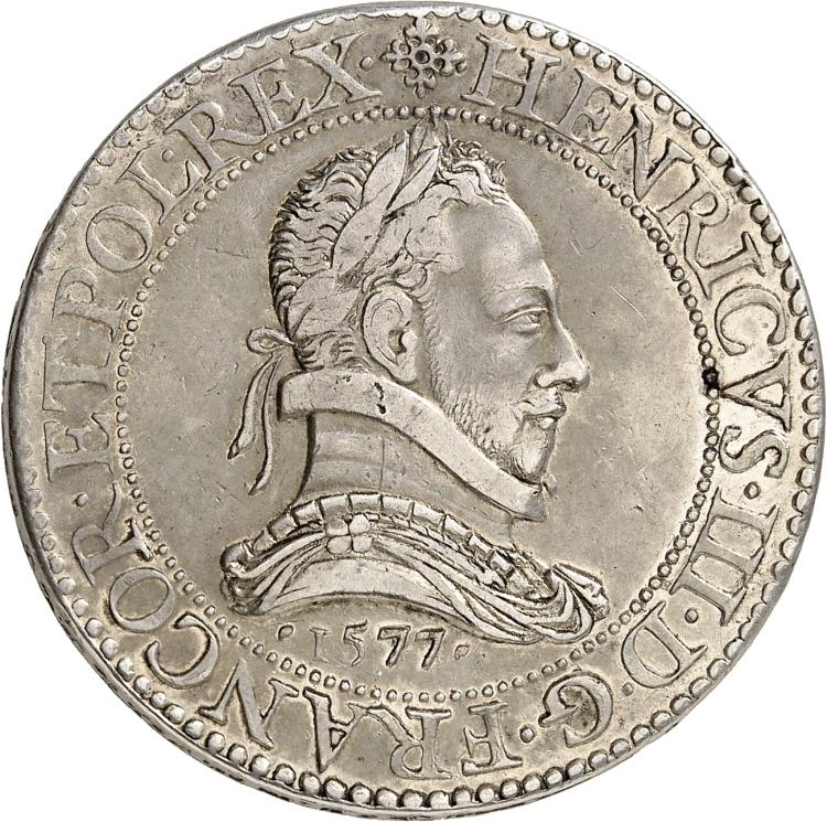 FRANCE Henri III (1574-1589). Franc 1577, Paris, piéfort double, tranche inscrite en relief.