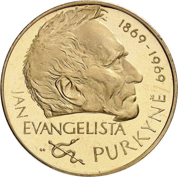 TCHÉCOSLOVAQUIE République (1945-1993). Médaille monétiforme 1969 au module de 100 couronnes, commémorant les 100 ans de la mort de Jan Evangelista Purkinje.